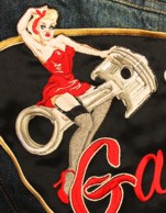 pin up, pin up bombardier, harley davidson, patch biker sur mesure
